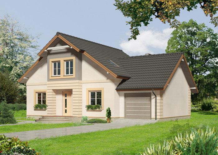 Проект мансардного дома с гаражом