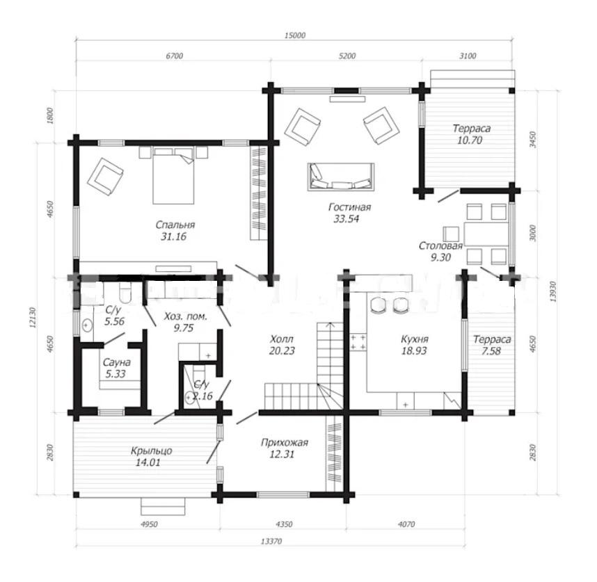 Планировка дома из бруса