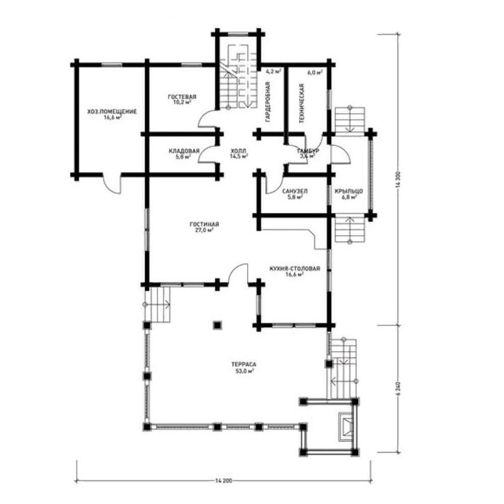 Планировка двухэтажного дма из профилированного бруса