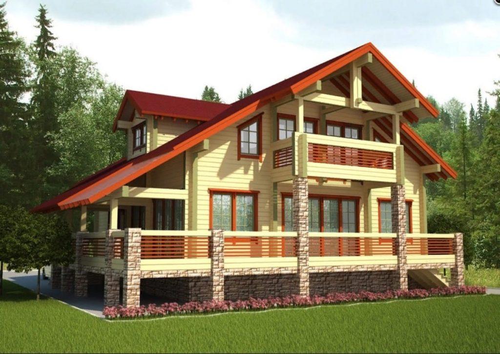 Проект двухэтажного дома из бруса