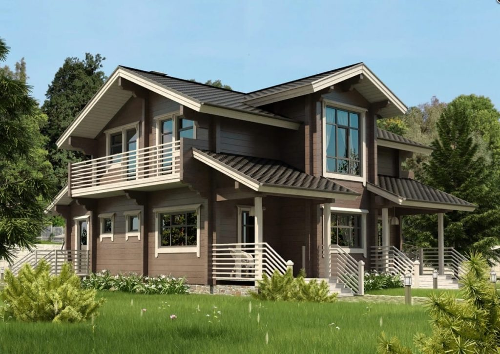 проект двухэтажного дома из профилированного бруса