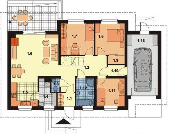 Планировка одноэтажного дома с гаражом
